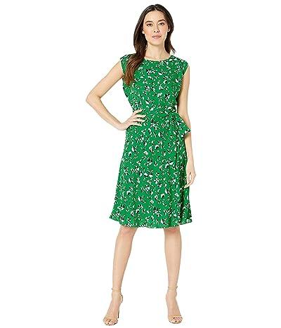 LAUREN Ralph Lauren Petite Floral Georgette Dress (Cambridge Green Multi) Women