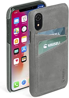 Krusell Sunne 2 Card Wallet Case for Apple iPhone XR Premium Leather Case, Vintage Grey