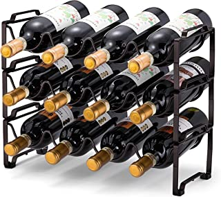 Simple Trending 3-Tier Stackable Wine Rack, Standing Bottles Holder Organizer, Wine Storage Shelf, Towel Rack for Kitchen ...
