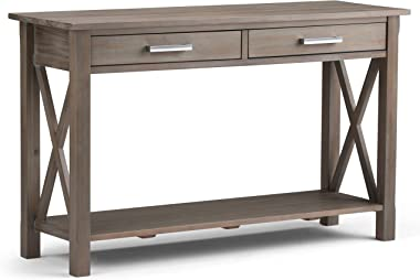 Simpli Home Kitchener SOLID WOOD 47 inch Wide Contemporary Modern Console Sofa Entryway Table in Distressed Grey with Storage