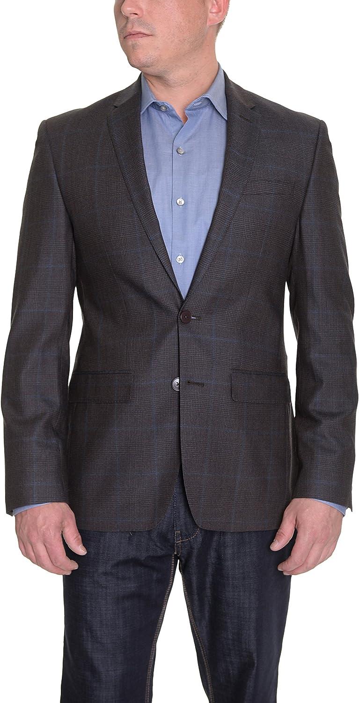 期間限定 DKNY Mens Trim Fit Brown Glen Sport Plaid Blazer セール特別価格 Two Wool Button
