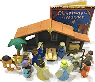 Nativity Playset for Children 19 Pieces by BibleToys Bundle. Includes Christmas in The Manger Board Book. Figures Include Mary, Joseph, Baby Jesus, Wise Men, Shepherds, & Animals. Christmas Toy.