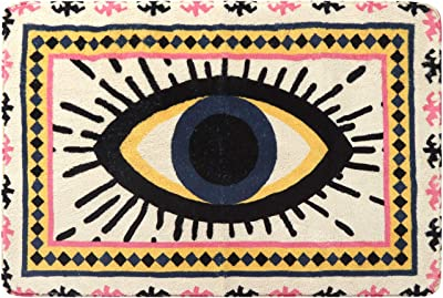 HAOCOO Evil Eye Area Rugs 2'x3' Non-Slip Tribal Style Small Throw Rugs Super Soft Velvet Creative Accent Distressted Floor Carpet for Door Mat Entryway Bedroom Decor