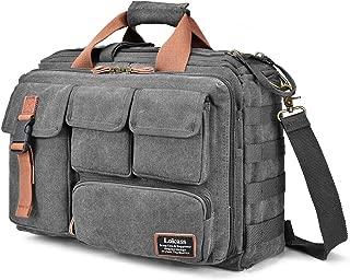 LOKASS 17.3 Inches Laptop Bag Canvas Messenger Bag Business Travel Shoulder Bag Large Capacity Computer Briefcase Multifuntional Outdoor Bag for Men/Women / College (Grey)