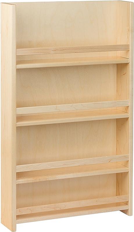 Century Components SRAS15PF Wood Door Mount Kitchen Spice Rack Organizer 15