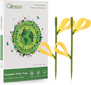 Garsum Sticky Houseplant Traps Gnat Yellow Insect Trap Indoor Fruit Fly Stakes Trap(21 Traps)
