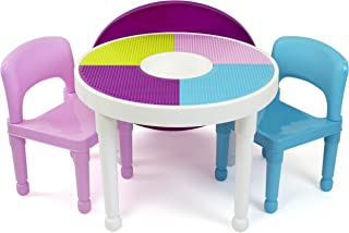 Humble Crew, White/Blue/Pink Kids 2-in-1 Plastic Building Blocks-Compatible Activity Table and 2 Chairs Set, Light Colors