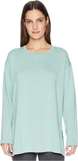 Organic Cotton Blend Terry Round Neck Top with Side Slits