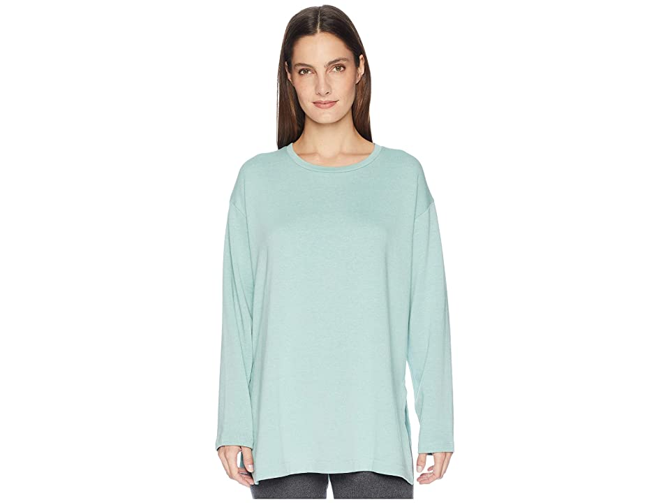 Eileen Fisher Organic Cotton Blend Terry Round Neck Top with Side Slits (Elm) Women
