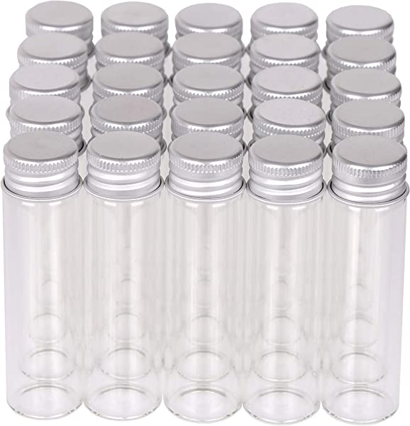 MaxMau Small Glass Bottles With Aluminum Screw Lids Clear 20 Milliliter 100 Packs
