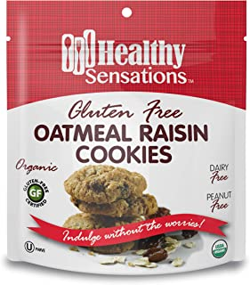 Gluten Free, Organic Oatmeal Raisin Cookies - Healthy Sensations 5oz Bag - Dairy & Peanut Free and Kosher | Indulge Without The Worries!