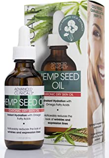 Advanced Clinicals Hemp Seed Oil for Face. Cold Pressed Cannabis Sativa oil instantly hydrates skin and helps with Wrinkle...