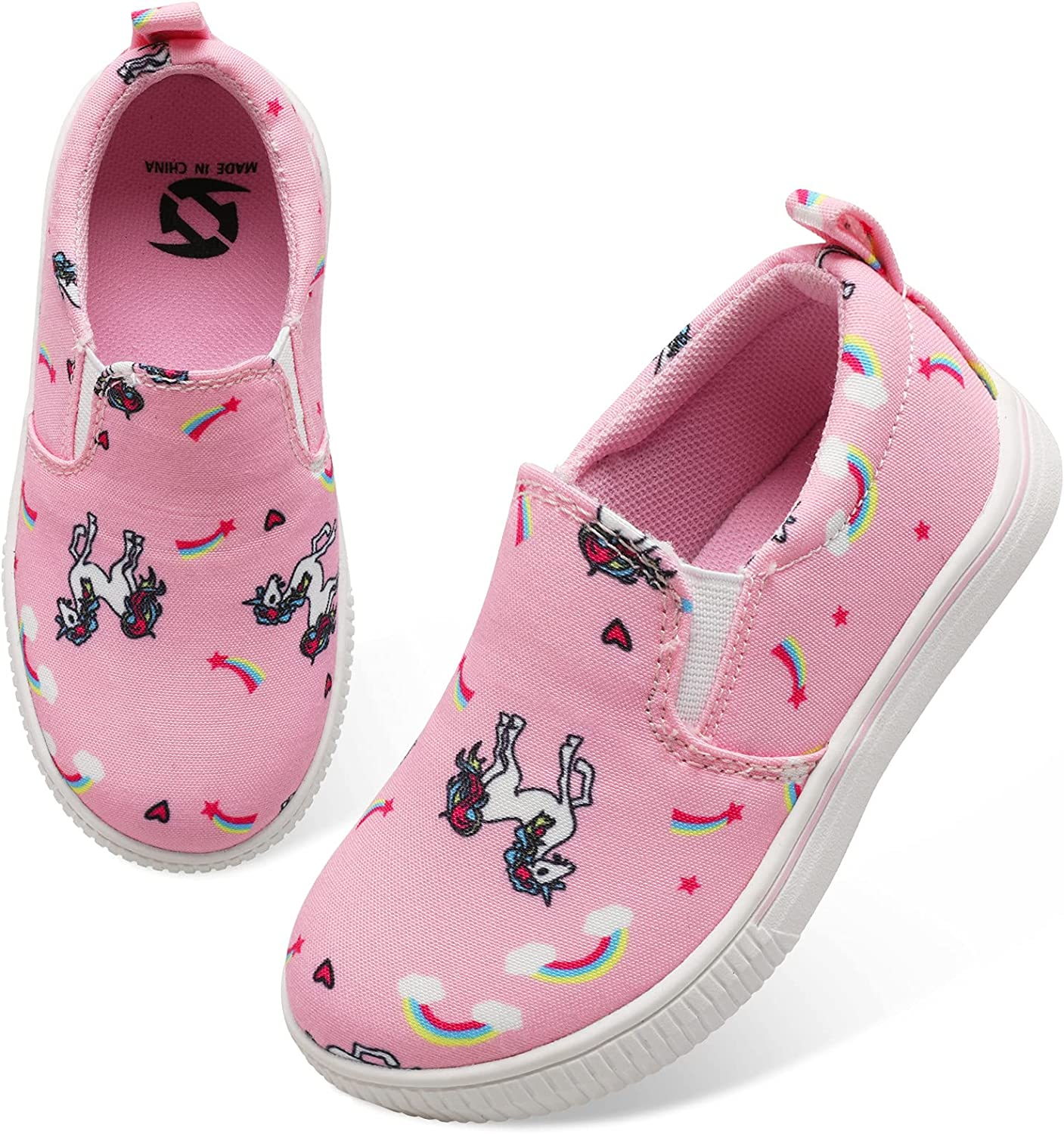 JIASUQI Comfortable Casual Canvas Slip on Fahion Sneakers for Baby Girls Boys Sports Running Shoes Pink Horse 5 Infant