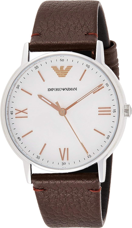 Emporio Armani Men's Three-Hand Brown Leather Watch