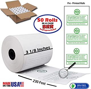 Pre Printed 3 1/8 x 230 Thermal Paper roll 50 Pack Cash Register Rolls BPA Free Made in USA from BuyRegisterRolls