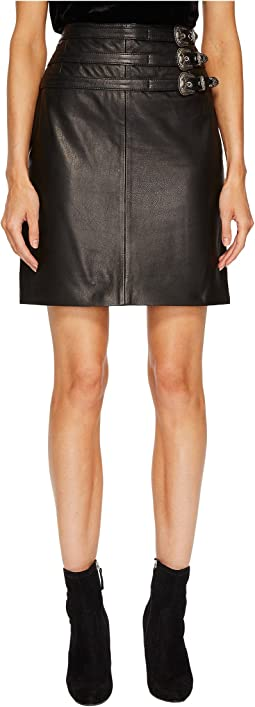 The Kooples - Leather Skirt with Buckle Details and Front Slit