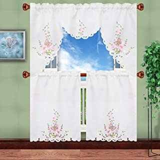 Simhomsen Embroidered Butterfly Kitchen Curtain Swag and Tiers Set for Spring and Summer, Window Treatment, Decorations (Pink)