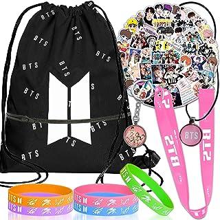 ست هدیه BTS برای ارتش ، کوله پشتی طناب کشی ، تابلوچسبها ، گردنبند ، مچ بند ، بند بند ، هدیه طرفداران Keychain-Ideal