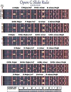 OPEN G SLIDE RULE CHART - GBDGBD - LAP PEDAL STEEL SLIDE GUITAR