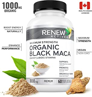 Organic Black MACA Dietary Supplement Pills- Vegan, Non GMO Certified – 1000mg of Gelatinized Peruvian Black Maca Root Powder per Capsule Supports Male Health, Performance & Increase Energy Levels