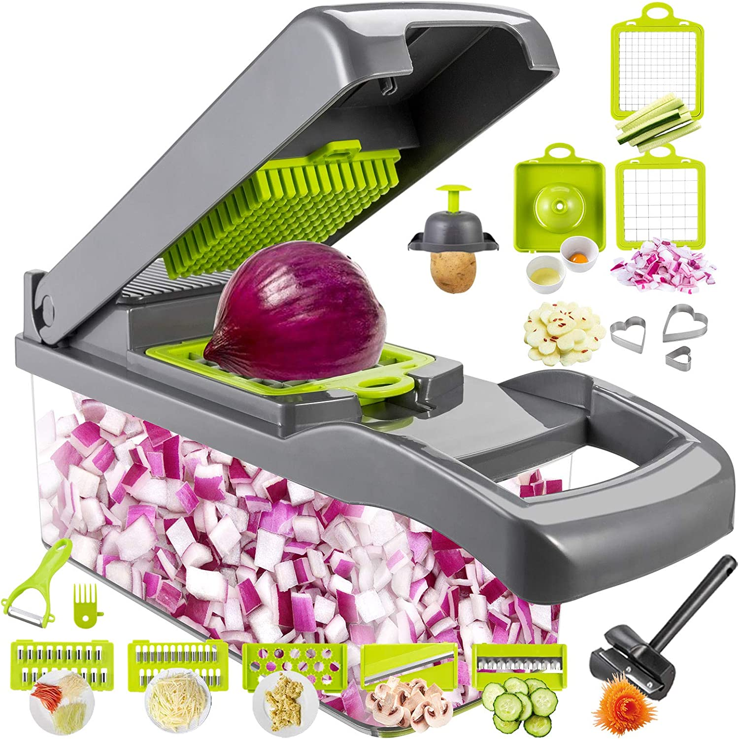 Cyhawcerv 20 PCS Vegetable Chopper Onion Chopper Dicer - DIY Fun Food Tools Cutter Potato Slicer Veggie Chopper Mandoline Slicer with Container Kitchen Gadgets for Fruits,Vegetables and Salad, Grey