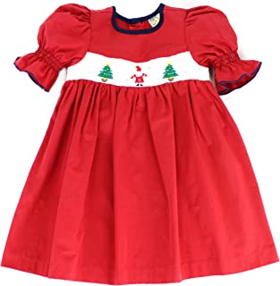 Winter Wonderland Embroidered Christmas Hand Smocked Dress for Toddlers (2T,3T,4T)