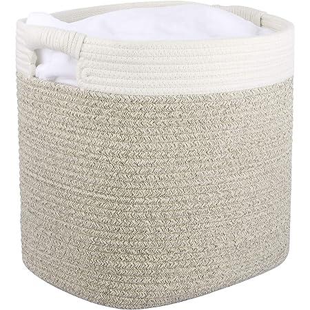 La Jolíe Muse Panier de rangement en corde de coton, Panier d'organisation et de rangement polyvalent avec poignées, naturel et sûr pour les bébés et les enfants, blanc et marron clair