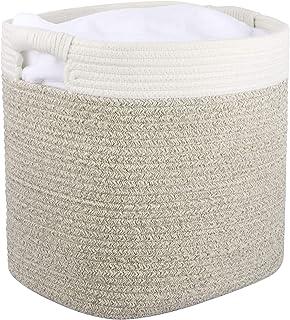 La Jolíe Muse Panier de rangement en corde de coton, Panier d'organisation et de rangement polyvalent avec poignées, natur...