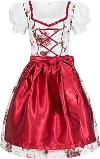 Gaudi-Leathers Damen Dirndl Kleid Dirndlkleid Trachtenkleid Midi ROSI Blümchenstoff