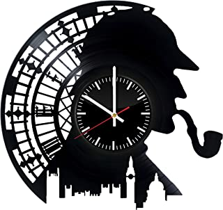 Sherlock Holmes Vinyl Records Wall Clock - Detective Stories Original Present For Movie's Fans - Wall Art Room Decor Handmade Decoration Party Supplies Theme Birthday Gift - Vintage And Modern Style