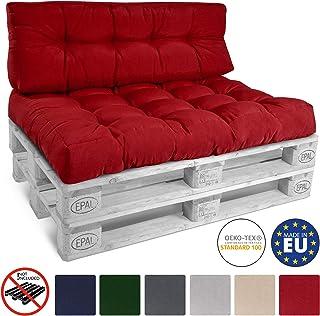 Beautissu Cojín Palet, sofá-Palet y europalet Eco Style - Cojín de Respaldo 120x40x10-20 cm : Rojo - Cojín: Respaldo (1 Pieza)