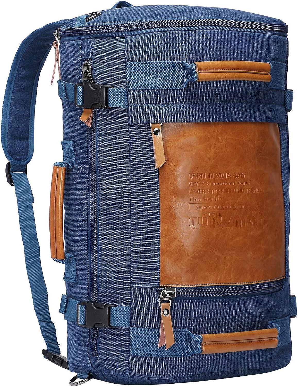 e5fbf9189 Men's Retro Canvas Travel Rucksack Backpack Witzman Duffel Casual Daypack  2033 (blueee, 19Inch)