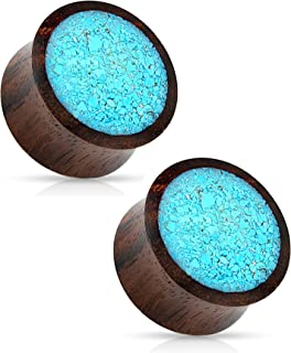 Crushed Turquoise Organic Wood Saddle Fit Plugs Ear Gauges - Sold As Pair