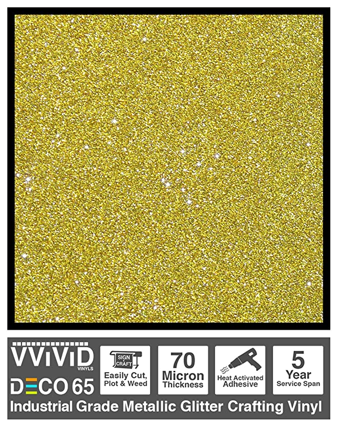VViViD DECO65 Gold Flake Metallic Glitter Adhesive Vinyl 6ft x 1ft Craft Roll for Cricut, Silhouette & Cameo Plotting Machines