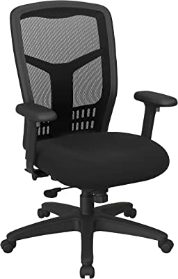 Office Star ProGrid High Back Manager's with Adjustable Height, 2-to-1 Synchro Tilt Control and Seat Slider, Icon Black Fabric