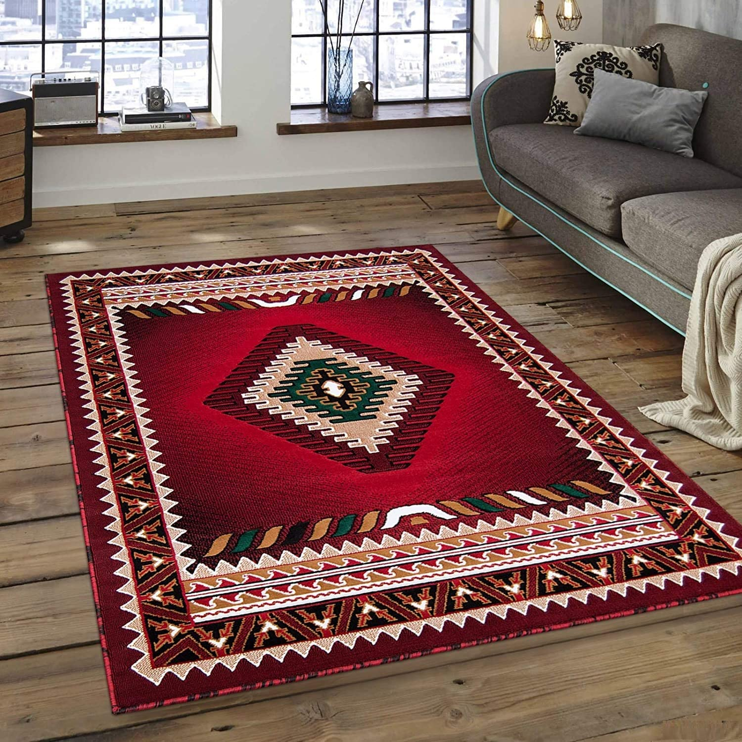 Western Navajo Many popular brands Aztec Native American Max 47% OFF Red Carpet Rug Area Feet 5