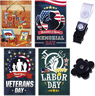 Best Price & Quality Garden Flag Set for Outdoors – Holiday Flags for Outside – Yard Flags with Father's Day, Memorial Day, Veterans Day, Labor Day Theme – 12 x 18-inch Premium HD Yard Banners 4-Pack