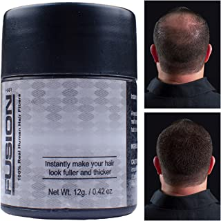 HAIR FUSION - 100% Real Human Hair Fibers - Conceal bald and thinning hair - Root touch up - Volumizer - Unisex (0.43 oz, Dark Brown)