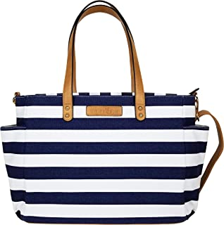The Aquila (New Edition) Tote Bag by White Elm   Gray, Black or Navy Blue Stripes/Gray or Black Buffalo Check