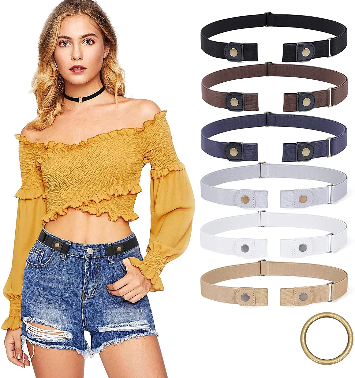 6 pieces Weekly update No Popular product Buckle Stretch Free for Men Women Belt