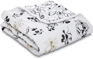 aden + anais Stroller Blanket, 100% Cotton Muslin, 4 Layer Lightweight and Breathable, 27.5 X 27.5 inch, Mickey's 90Th - Montage