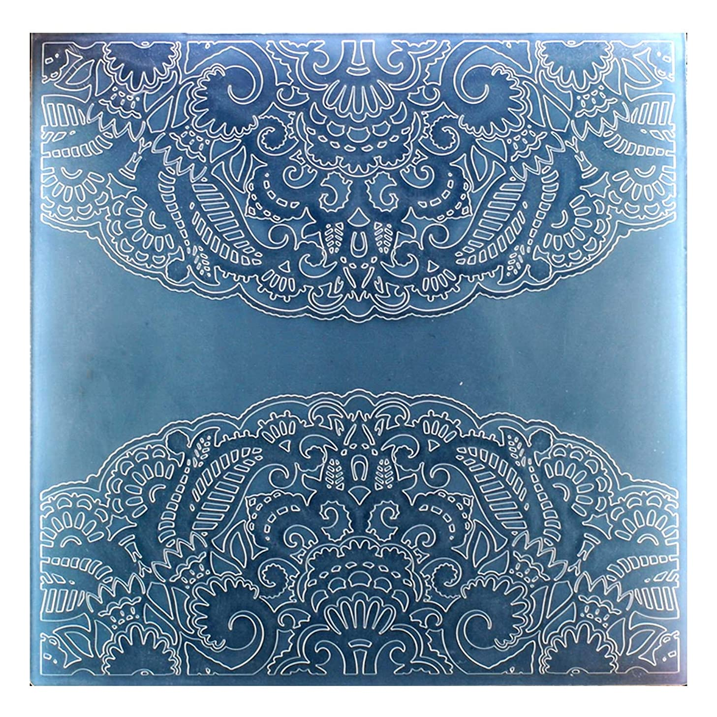 Kwan Crafts Large Size Flowers Corner Plastic Embossing Folders for Card Making Scrapbooking and Other Paper Crafts, 19.7x19.7cm