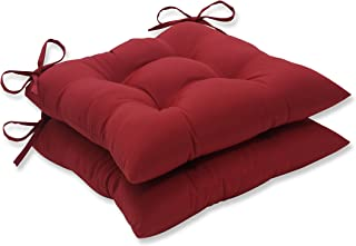 Pillow Perfect Indoor/Outdoor Red Solid Tufted Seat Cushion, 2-Pack