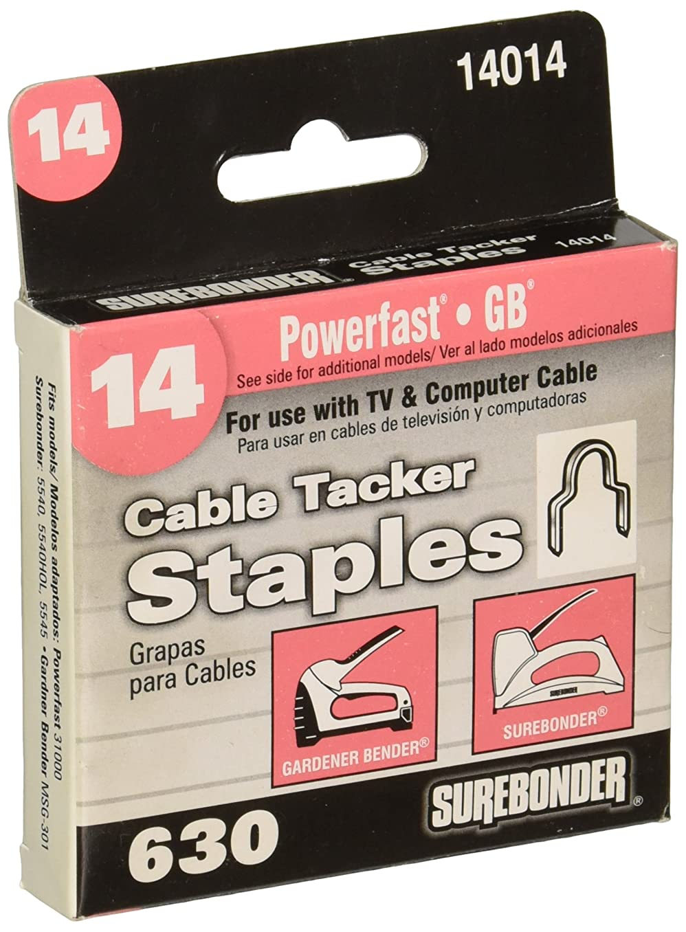 Surebonder 14014   Round Crown Cable Tacker Staple, Fits up to 1/4-Inch Round Cable, 630 Count