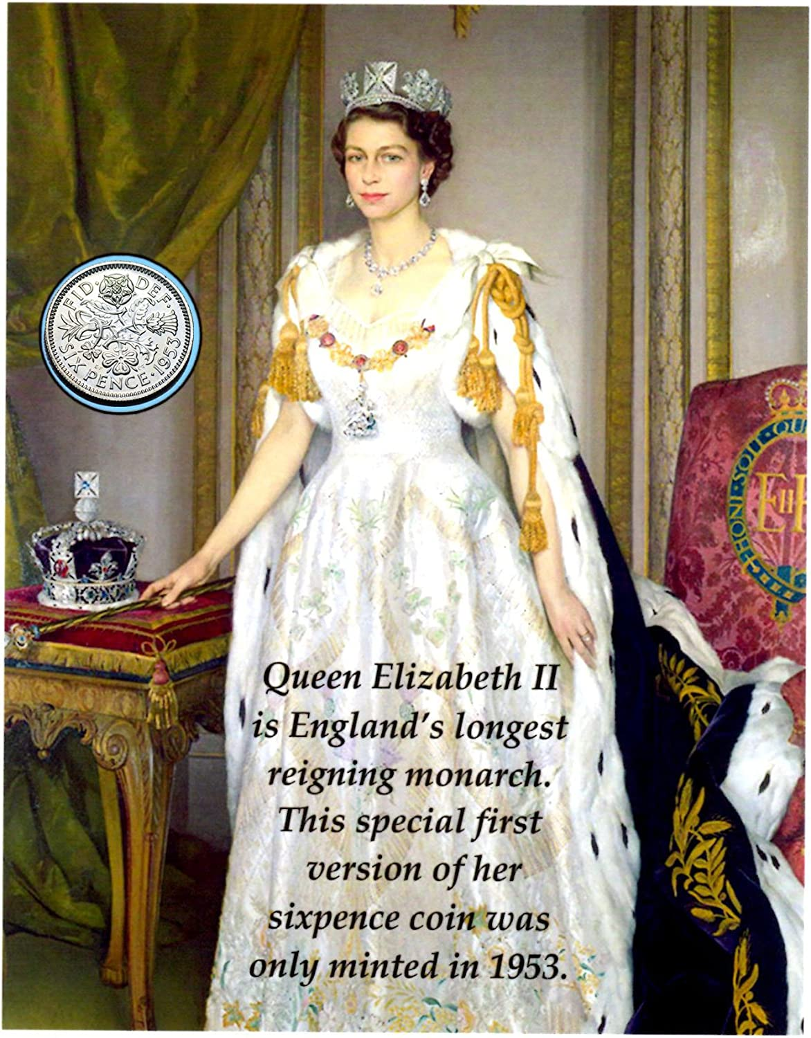 Queen Elizabeth II First Sixpence Coin and Descriptive Card