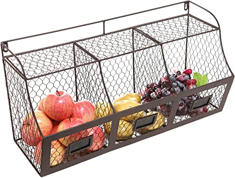 Amazon Com K Cliffs 3 Compartment Wall Mount Metal Storage Basket Large Kitchen Hanging Metal Fruit Basket Wire Organizer Produce Basket Rack Bin Raw Rustic Brown Home Kitchen
