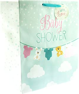 Graphique Baby Shower Clothesline X-Jumbo Gift Bag — Cute Baby Animals and Clothes Hung Below