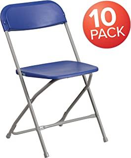 Flash Furniture 10 Pk. HERCULES Series 650 lb. Capacity Premium Blue Plastic Folding Chair