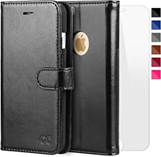 OCASE iPhone 6S Case [Free Screen Protector Included] Leather Flip Wallet Case for iPhone 6 / 6S Devices - Black