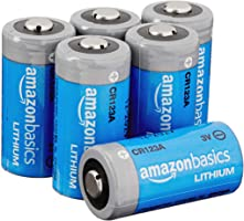Amazon Basics 6-Pack Lithium CR123a 3 Volt Battery, 10-Year Shelf Life